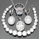 <b>Silver</b> 925 Jewelry Zirconia Costume Bridal Jewelry Sets For Women Luxury Earrings Wedding Necklace Rings <b>Bracelets</b> Set Gift Box