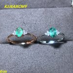 KJJEAXCMY Fine <b>jewelry</b> Natural emerald ring female RING 925 sterling <b>silver</b> inlay support any identification