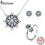 BAMOER 100% 925 Sterling <b>Silver</b> Luminous CZ Sparkling Snowflake Geometric Women <b>Jewelry</b> Set Sterling <b>Silver</b> <b>Jewelry</b> Gift ZHS057