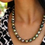 stunning AAA 10-11 mm Tahitian round multicolor pearl <b>necklace</b> 18 INCH