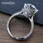 Vecalon New Women Vintage <b>Jewelry</b> ring Round 3ct AAAAA Zircon Cz 925 <b>Sterling</b> <b>Silver</b> Engagement wedding Band ring for women