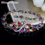 BlingZircons Sterling Silver 925 Summer Cute Crystal <b>Jewelry</b> Big Flower Cluster Colorful CZ Stone Bracelet For Women B055