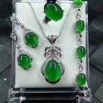 925 <b>Silver</b> Fine Jewelry Women Jewelry Certificate Natural Jade Medullary Ring Pendant <b>Earrings</b> Bracelet Jewelry Sets