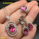 KJJEAXCMY boutique jewels 925 <b>silver</b> inlay natural Pink Topaz Ring Pendant <b>Earrings</b> 3 suit jewelry necklace sent abd