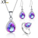 XF800 925 Sterling <b>Silver</b> Jewelry Genuine Gem Stone Rainbow Mystic Topaz Crystal Necklace Pendant Ring <b>Earrings</b> Wedding [T236]