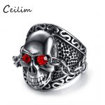 2018 New Fashion Stainless Steel Red Eyes Skull Men's Ring <b>Jewelry</b> Gothic Rock Punk Style <b>Antique</b> Silver Chain Ring Dropshipping