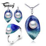 FENASY Pearl Jewelry sets 925 Sterling <b>Silver</b> stud <b>earrings</b>,natural Pearl leaf necklace for women Cloisonne <b>earrings</b> ring set