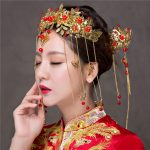 Vintage Chinese Style Classical Wedding <b>Jewelry</b> Sets Gold Color Tassel Phoenix Coronet Bridal Accessories Hair Stick <b>Handmade</b>