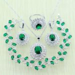925 Logo Green Rhinestone White Crystal Silver color <b>Jewelry</b> Set For Women Bracelets/<b>Necklace</b>/Earrings/Ring/Pendant