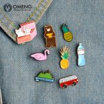 OMENG 2017 Fashion Enamel Pin for Woman Brooch Pin Button Jeans Bag <b>Decoration</b> Gift <b>Jewellery</b> Gifts OXZ011