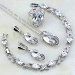 Classic White Mystic Rhinestone Sterling <b>Silver</b> Jewelry Sets For Women Wedding <b>Bracelets</b>/Necklace/Pendant/Earrings/Ring