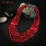 KCALOE Bohemia Ethnic Red <b>Necklace</b> & Pendant Multi Layer Irregular Natural Coral Stone <b>Jewelry</b> Statement <b>Necklaces</b> Women <b>Jewelry</b>