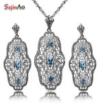 Szjinao Luxury Fashion Women 925 Sterling <b>Silver</b> Aquamarine Jewelry Sets <b>Earring</b> Pendant Vintage Wedding Decoration Wholesale
