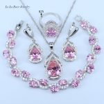 L&B 925 logo Silver Color <b>Jewelry</b> Sets Water Drop Pink Crystal White Zircon Bracelet Earrings Pendant Necklace Ring