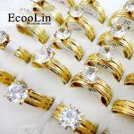 10pcs Women <b>Fashion</b> Gold Classic Engagement Anniversary Wedding Ring Cubic Zirconia Stainless Steel Rings Female <b>Jewelry</b> LR388
