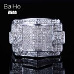 BAIHE <b>Sterling</b> <b>Silver</b> 925 0.8CT Certified H/SI Round 100% Genuine Natural Diamonds Wedding Men Classic Fine Jewelry fashion <b>Ring</b>