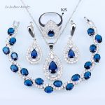 L&B Trendy Blue crystal Jewelry Sets For Women White Zircon <b>Silver</b> Color Earrings/Pendant/Necklace Chain/<b>Bracelets</b>/Ring