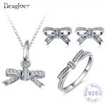 Beagloer 100% 925 Sterling <b>Silver</b> Sparkling Bow Necklace <b>Earring</b> Ring With Clear CZ For Women European Jewelry Gift PSST0019-B