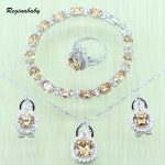 Reginababy Women Orange Morganite Bridal Jewelry Set <b>Silver</b> color Wedding Crystal Necklace/ <b>Bracelets</b>/Earrings/Ring J1015012