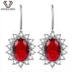 DOUBLE-R Princess Diana William 6.44ct Drop Earrings Genuine 925 <b>Sterling</b> <b>Silver</b> <b>Jewelry</b> Created Red Ruby Earrings for women