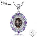 JewelryPalace Vintage 1.4ct Smoky Quartz Sky Blue Topaz Amethyst Cluster Pendant <b>Necklaces</b> 925 Sterling <b>Silver</b> Jewelry For Women