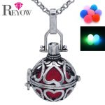 Aromatherapy <b>Jewelry</b> <b>Antique</b> Silver Hollow Heart Locket Glow Beads Pendant Fragrance Essential Oil Diffuser Chain Necklace