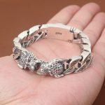 S925 Sterling <b>Silver</b> Jewelry Men Fashion New <b>Silver</b> Jewelry Thai <b>Silver</b> Double Leopard Head Ring <b>Bracelet</b>&<b>Bracelet</b> Homme