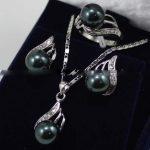 Women's Wedding Black South sea Shell Pearl Earrings Ring & Necklace Pendant Set 5.23 5.23 real silver-<b>jewelry</b> silver-<b>jewelry</b>