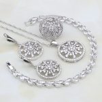 Round 925 Sterling <b>Silver</b> Jewelry White Cubic Zirconia Jewelry Sets For Women Wedding <b>Bracelets</b>/Necklace/Pendant/Earrings/Ring