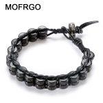 MOFRGO 8mm Beads Natural Coconut Shells Black Yak Bone Charm Bracelets For Women Handmade Weave Leather Bracelet Men <b>Jewelry</b>