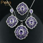 Pera CZ Elegant Design Big Square Austria Crystal Stone Purple 3 Piece 925 Sterling <b>Silver</b> Jewelry Sets For Women Gift J164