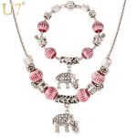 U7 Brand Cute Small Elephant Charm Strand <b>Bracelet</b> & Necklace Set Tibetan <b>Silver</b> Color Crystal Beads Women Jewelry Set S602