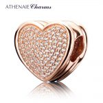 ATHENAIE Genuine 925 <b>Silver</b> with Pave Clear CZ Heart-shaped to My Mother Charm Fit European <b>Bracelets</b> Necklace Color Rose Gold
