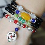 6mm <b>Accessory</b> Crafts Black Bracelet Vajra Bodhi Pestle Pendant Opal Beads <b>Jewelry</b> Bracelet Multilayer Chain Necklace Stones Ball