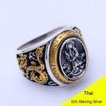925 Sterling <b>Silver</b> Retro Men Male Lotus Dragon Ring Thai <b>Silver</b> Fine <b>Jewelry</b> Gift Avalokitesvara Finger Ring CH047664
