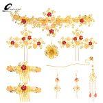 Luxury Gold Color Coronet Headpieces Chinese Style Traditional Tassel Hairwear <b>Jewelry</b> <b>Handmade</b> Wedding Bridal Hair Accessories