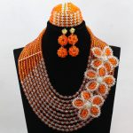 Orange and Clear African <b>Jewelry</b> <b>Handmade</b> Crystal Flower Brooches Traditional Nigerian Wedding Beads <b>Jewelry</b> Set WD116