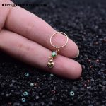<b>Jewelry</b> Piercing <b>Handmade</b> Simple Tiny Customizable Green Beads Heart Belly Ring Hoop Rings for Women Belly Piercing Grillz