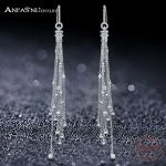 ANFASNI 925 <b>Sterling</b> <b>Silver</b> Luxury Tassel Earring with Micro Paved AAA Cubic Zirconia Long Earrings for Women Fine <b>Jewelry</b> 0151B