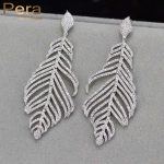 Pera CZ Luxury Big Dangle Leaf Shape Full Cubic Zirconia Stone Long Drop Earrings For Women <b>Wedding</b> Party <b>Jewelry</b> Gift E197