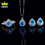 ZHHIRY Natural Blue Topaz Jewelry Sets Genuine Solid 925 Sterling <b>Silver</b> Women Gemstone Ring And Necklace Pendant <b>Earrings</b>