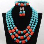 Gorgeous Blue Stone Beaded Wedding Nigerian Jewelry Set African Coral Necklace Party Women Jewelry Set Free Shipping TN142