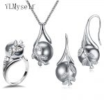 Hot Nice Suspension Pendant earrings ring 3pcs sets Rhodium plate Grey pearl & cubic zircon <b>Fashion</b> leaf statement <b>jewelry</b> set