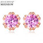 MSXNEOW Cute Pink Cubic Zirconia Crystal Flower 925 <b>Silver</b> <b>Earrings</b> 2018 New Designs <b>Silver</b> Fine Jewelry for Women Gift SE0034