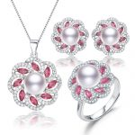 fresh water cultured 925 sterling <b>silver</b> bridal real pearl necklace and <b>earring</b> set natural freshwater pearl jewelry set