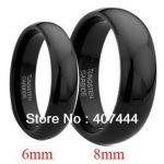 Free Shipping Wholesales Cheap Price <b>Jewelry</b> USA Hot Sales 8MM/6MM Black Shiny Domed Tungsten Carbide <b>Wedding</b> Band Ring Set