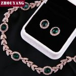 ZHOUYANG ZYS067 Noble Green Crystal Rose Gold Color <b>Jewelry</b> <b>Necklace</b> Earring Set Rhinestone Made with Austrian Crystal Health