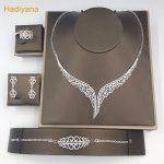 Luxury AAA Cubic Zirconia 4pcs <b>Jewelry</b> Set For Wedding Dubai Necklace <b>Jewelry</b> Sets With Earrings Ring Bracelet Hadiyana CN171