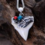 925 <b>silver</b> Thailand hand inlaid natural shark tooth <b>Necklace</b> Pendant
