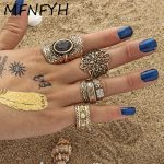 MFNFYH 4pcs/Set Bohemia Punk Flower Rhinestone Rings For Women <b>Antique</b> Tibetan Gold Color Knuckle Finger Bague Vintage <b>Jewelry</b>